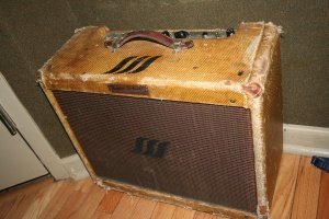 "This amp (with the SSS, Sigma Sound Studio logo on it) was originally given to Mike, who was at the time learning guitar, by the man who played on ""The Twist"". After quitting his guitar lessons, Mikes guitar teacher, upset he had quit, gave the amp to Sigma. The amp was later stolen from SSS in 1990 and Mike got it back in 2014. The man who played through it died a months ago at 92 years old. Therefore, the amp, according to Mike, will never be sold."