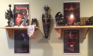His love of movies is evidenced in his home.