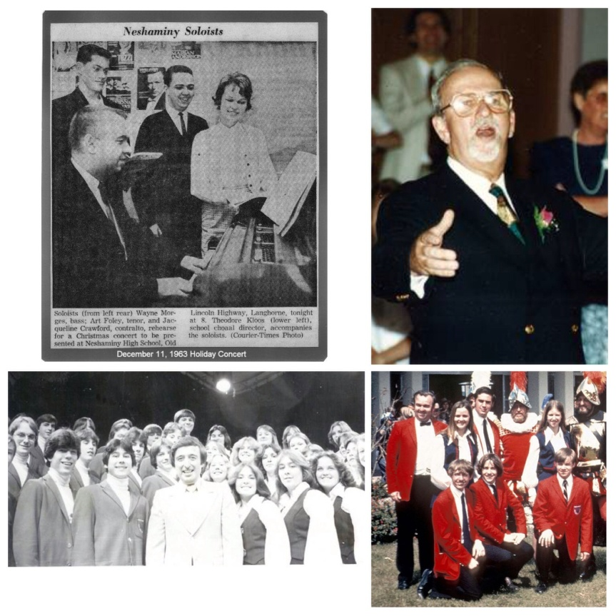 From top left, clockwise: Photo 1: see caption in photo. Photo 2: Ted directing the choir for the last time at his Retirement dinner in 1993 before handing his baton off to Roy Nelson, former student and one of his best friends. Photo 3: Ted in the early 70's with Concert Choir in Bradenton Florida for the DeSota Celebration. Photo 4: Ted had Concert Choir on Captain Noah in 1979 with Larry Ferrari. Larry was also good friends with Ted and gave Neshaminy his organ which stayed in the auditorium for years. Herman Sebek is standing next to him. He was in 11th grade and getting ready to leave for Juliard. While doing Pippin at Washington Crossing Open Air Theater, Herman arrived late just getting back from NYC where he landed his first Broadway part in West Side Story, then it was Cats and the rest is history.