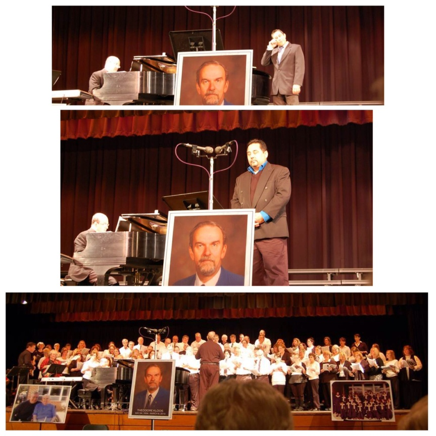 Top photo: This is Herman Sebek singing at Ted's Magical Musical Memorial with Eric Schnitzer accompanying on piano. Middle photo: This is Christian Sebek singing at Daddys Magical Musical Memorial with Eric Schnitzer at the piano. Bottom photo: This is Neshaminy High School Concert Choir, Ted Kloos Era, performing at Ted's Magical Musical Memorial on 11/6/13 under the direction of Roy Nelson where we handed Teds baton and pitch pipe off to Kristin Nichols, who then directed Concert Choir in, probably everyone's favorite,